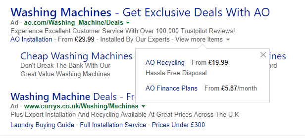 price extensions on bing ads example