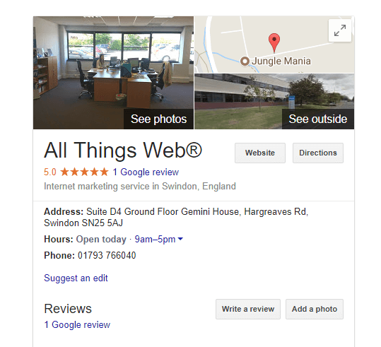 Google Local Listing for All Things Web®