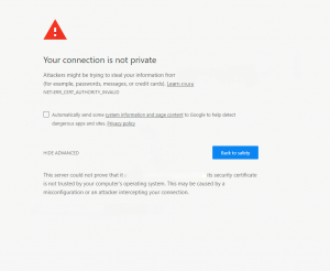 your connection is not private chrome page