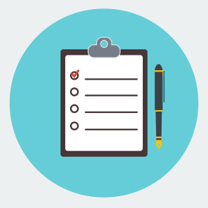 Blank checklist form, to-do list with office supplie.