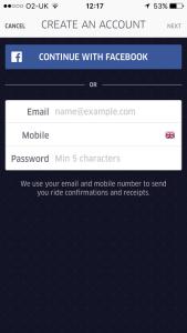 Uber app sign up process