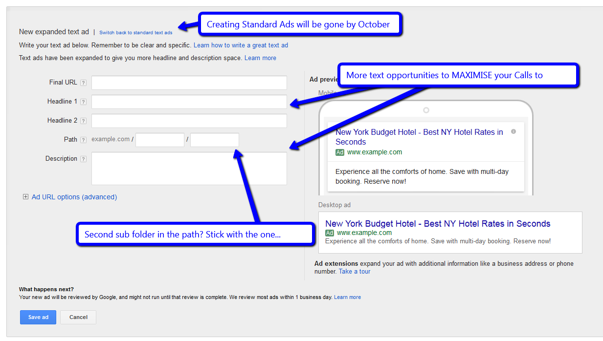 Google Adwords Expanded Text Ads are Upon us!