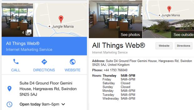 GMB mobile and desktop listing