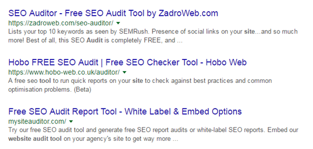 Search Engine Results For Free Website Audits