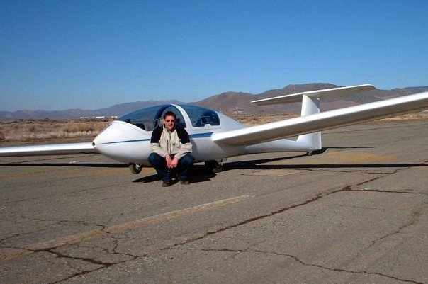 The author, Darren Moloney next to a Grob Acro Glider in Nevada