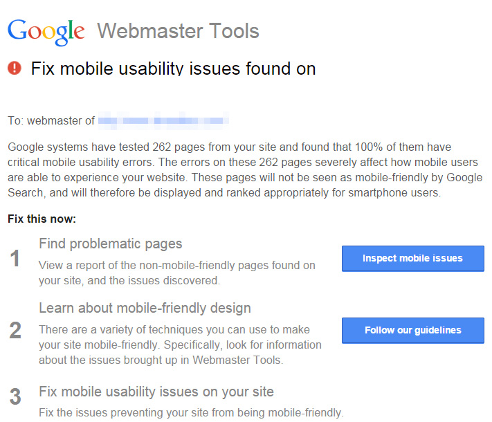 Google Webmaster Tools warning Site not Mobile Friendly